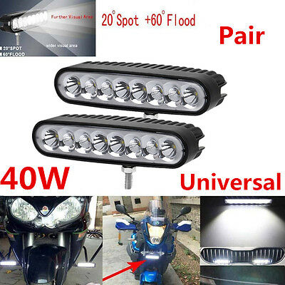 2x Waterproof 40W Flood Spot LED Work Light Car Motorcycle Fog Driving Bar Lamp