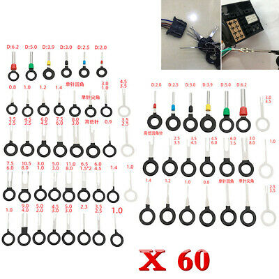 60Pcs Car Electrical Terminal Plug Wiring Connector Pin Extractor Removal Tools