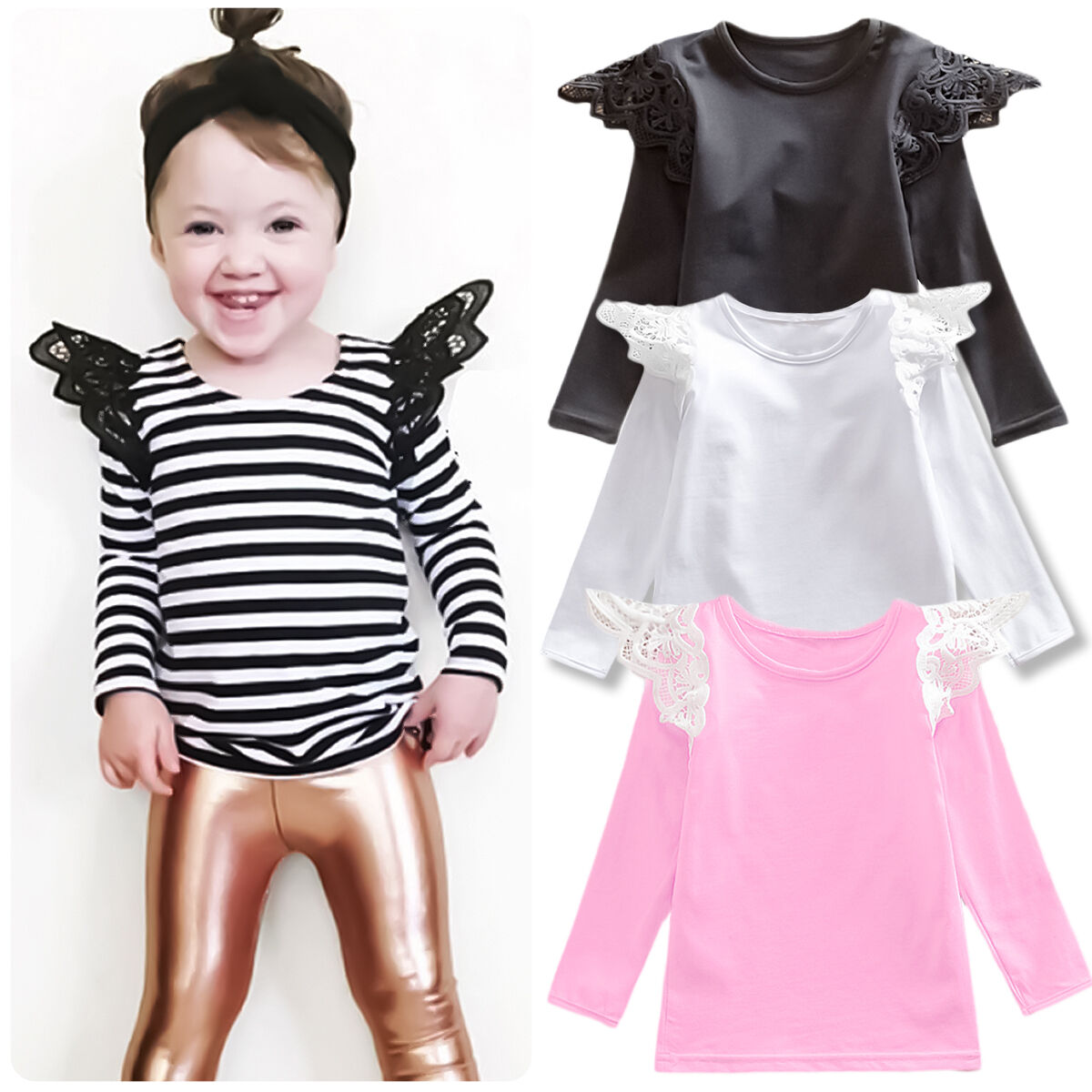 Baby Girls Toddler Kids Long Lace Sleeve Shirts Casual Cotton Top Blouse Clothes