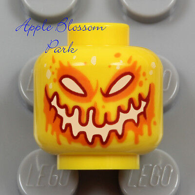 NEW Lego Monster PUMPKIN MINIFIG HEAD - Yellow Halloween Jack-O-Lantern w/Orange