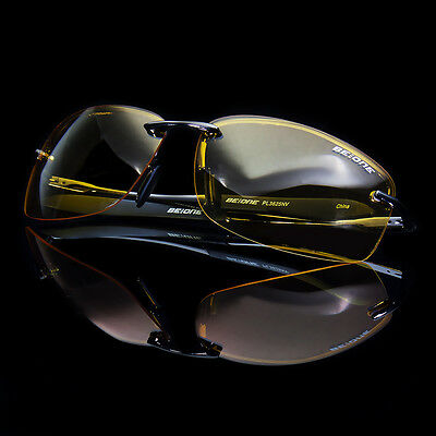 NEW SPORT WRAP HD NIGHT DRIVING YELLOW VISION SUNGLASSES HIGH DEFINITION GLASSES (Yellow Sunglasses)