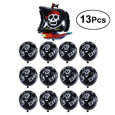 13x Skull Aluminum Balloons Pirate Theme Halloween Birthday Party Kids Toys Cute