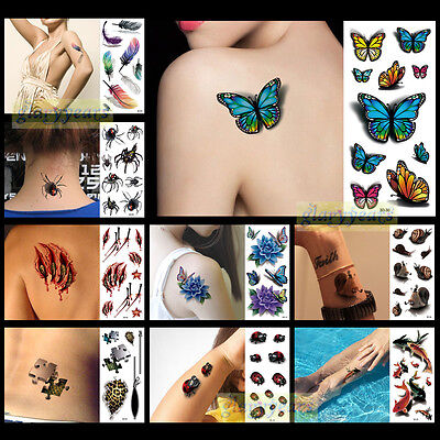 New Hot Lot Style 1PC 3D Fashion Women Men Waterproof Temporary Tattoo Halloween