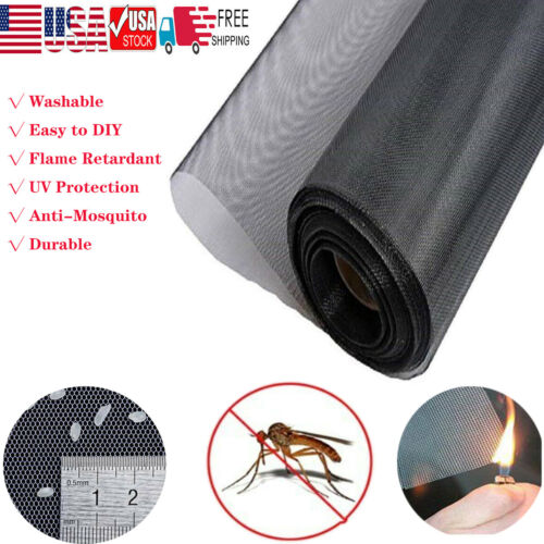Shatex Black Roll Insect Mosquito Fly Bug Window & Door Mesh Screen,Various Size