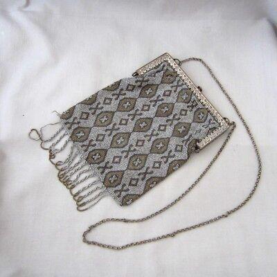 Antique Art Deco Steel Beaded Handbag Purse w/ Silver & Brown Geometric Design - Beaded Purse Designs