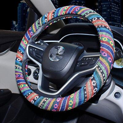 Folk-Custom Style Flax Multi-color 38cm Car Steering Wheel Cover Clean Anti Slip