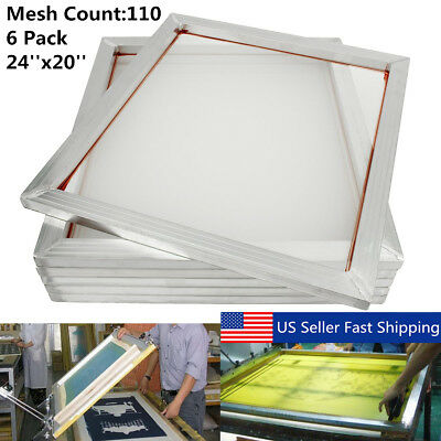 6pcs Aluminum Silk Screen Printing Press Screen Frame 24x20 110 Mesh Count