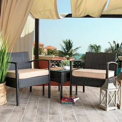 Garden Furniture - 3PC Rattan Wicker Furniture Table Chair Sofa Cushioned Patio Outdoor Gardening