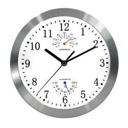 Magho Battery Operated Silent Non-ticking Indoor Wall Clock with Temperature &