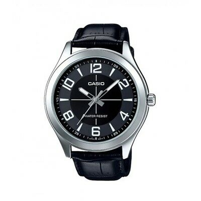 Casio MTP-VX01L-1B Men's Standard Leather Band Big Case BLACK Dial Watch