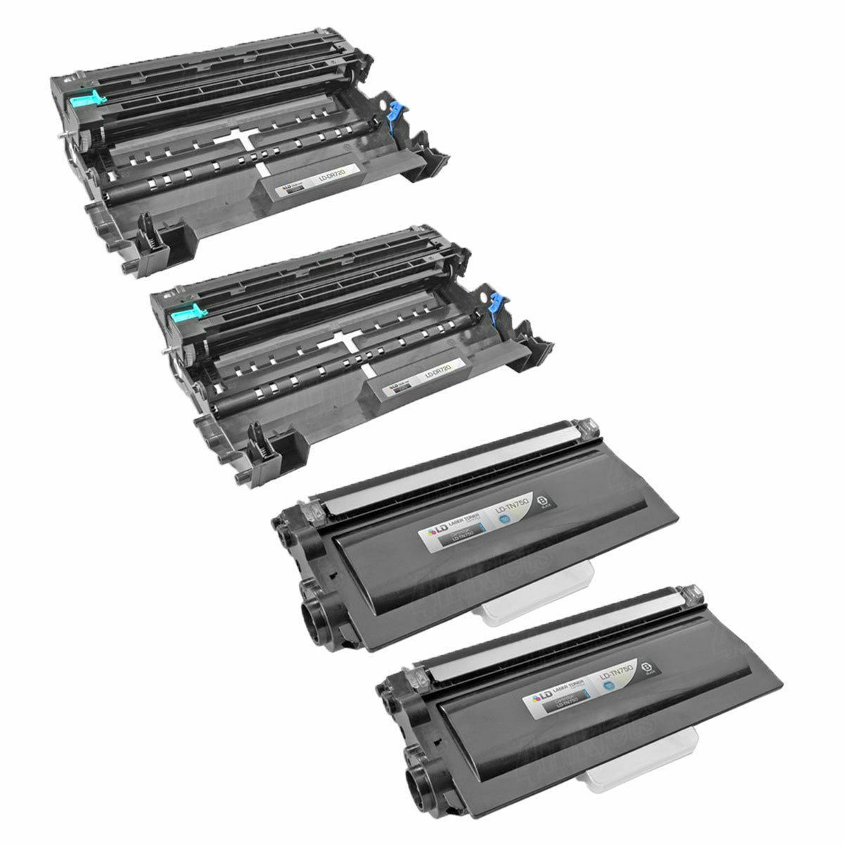 2 Tn750 & 2 Dr720 Combo Toner & Drum For Brother Hl5470dw...