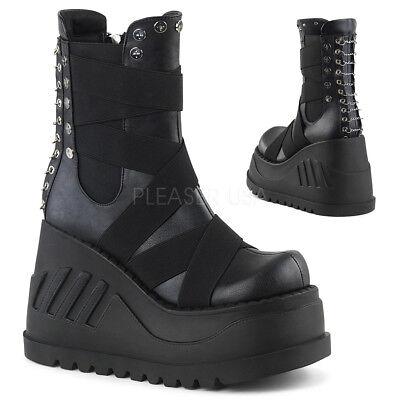 DEMONIA Black Wedge Platform Punk Goth Gogo Elastic Panel  Women's Calf Boots