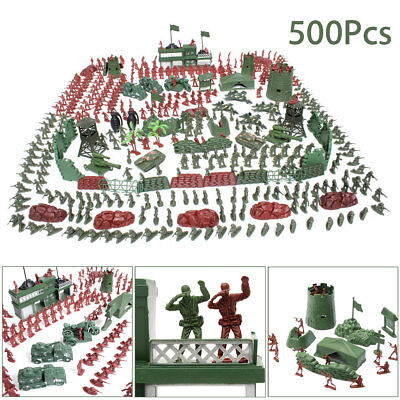 500 pcs Military Playset Plastic Toy Soldiers Army Men 4cm Figures & Accessories