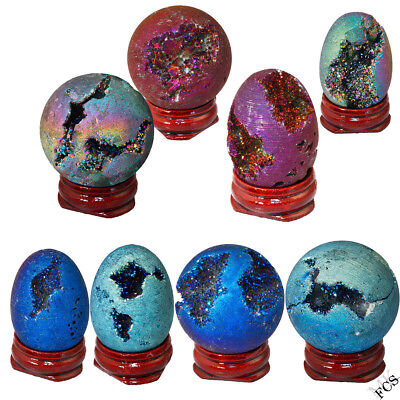 Oval Round Sphere Crystal Titanium Coated Rainbow Agate Quartz Geode Decor