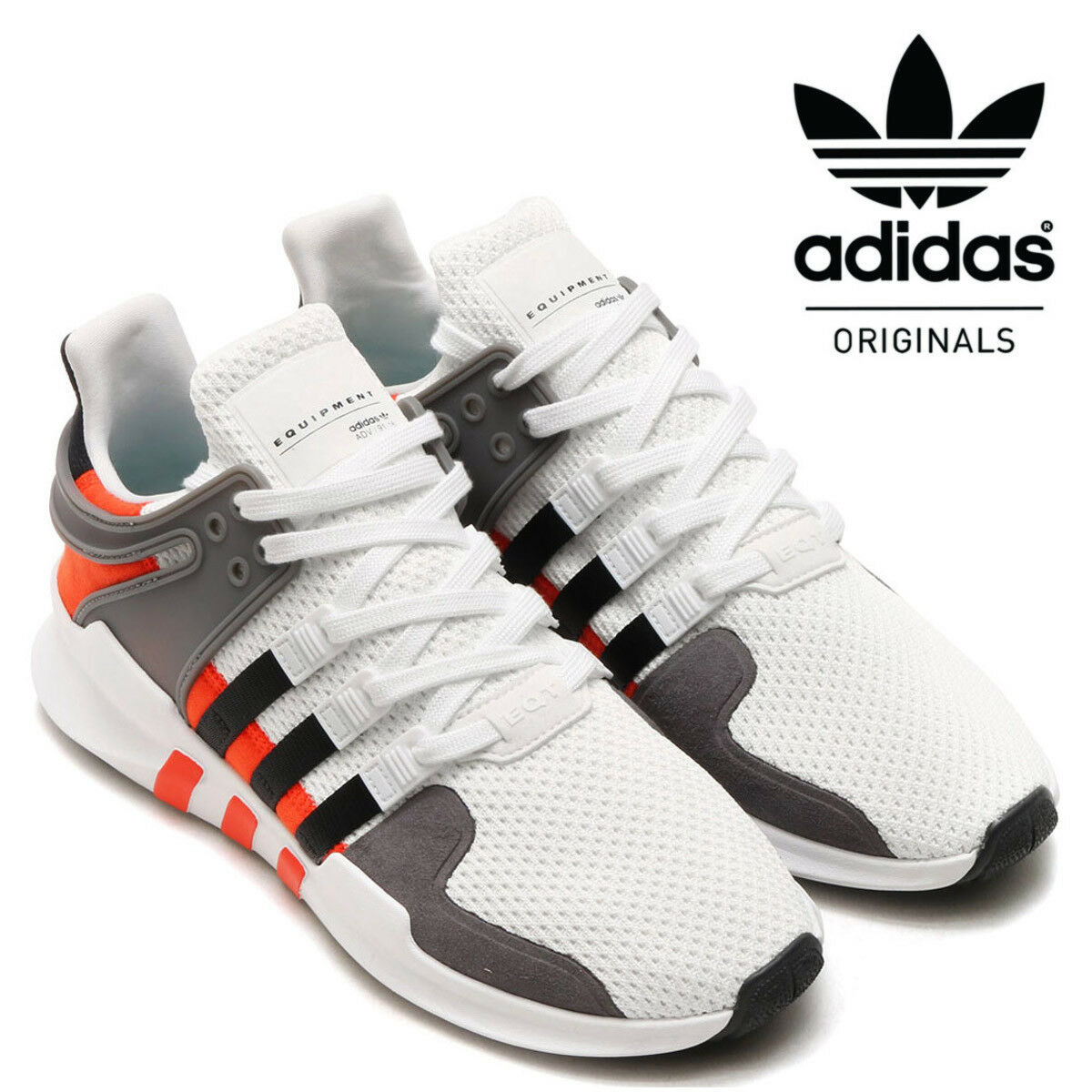 brand new 2dddb a0d5b Details about Adidas Originals Mens and Kids EQT Support ADV Trainers White  Casual Sneakers