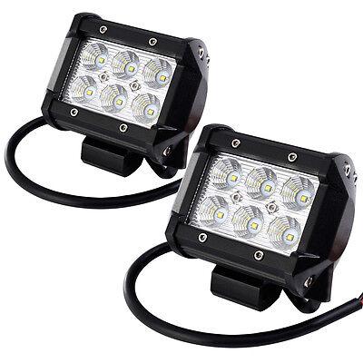 "2 X 4"" CREE LED WORK LIGHT FLOOD SPOT OFFROAD DRIVING FOG LAMP ATV SUV 4WD 18W"