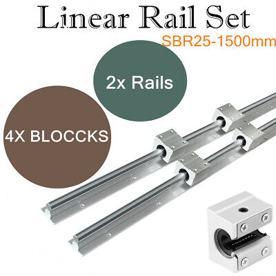 2set Sbr25-1500 Shaft Rod Slide Guide Fully Supported Linear Rail For Cnc