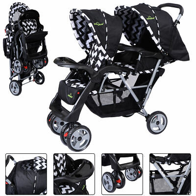 Foldable Twin Baby Double Stroller Kids Jogger Travel Infant  Pushchair -