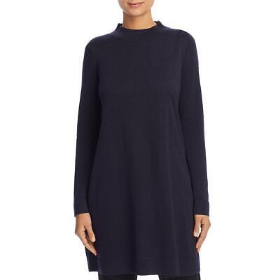 Eileen Fisher Womens Navy Mock Neck Split Front Tunic Top Blouse XXS BHFO 7554 Mock Neck Tunic Top