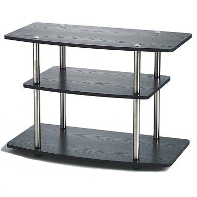 3 Tier Shelf Media Storage (Black TV Media Storage Display 3 Tier Stand 32in Flat Panel Living Room Shelf  )