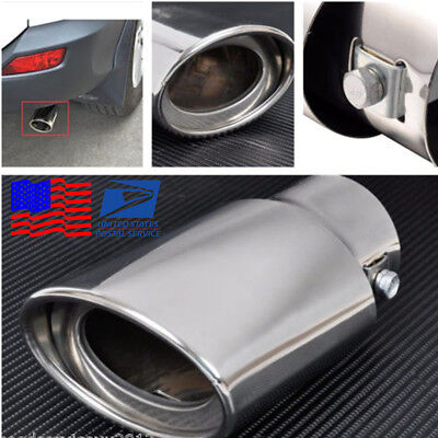 High Quality Chrome Round Car Exhaust Tail Muffler Tip Pipe Anti-UV For 1.8-2.2T ()