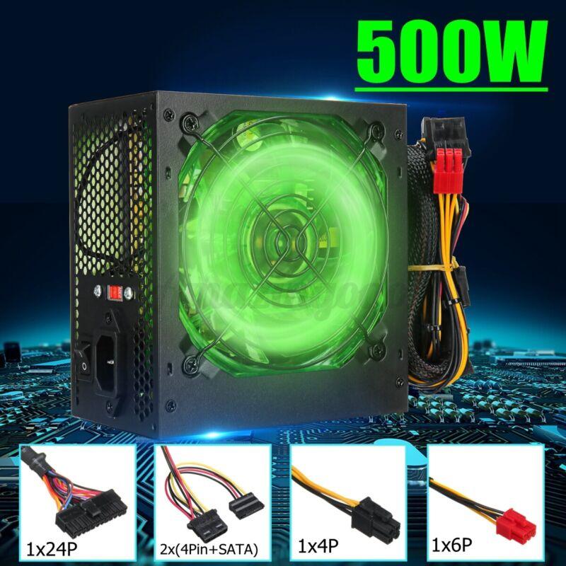 500W LED Cooling Computer Gaming Power Supply 24 Pin PCI ATX SATA Silent Fa ※!
