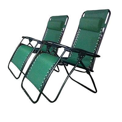 2 x Green Textoline Reclining Chair Zero Gravity Garden Lounger Deluxe Chairs