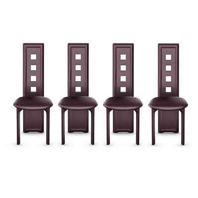 4PC Set Modern High Back Armless Brown Dining Room Table Chairs Furniture Padded