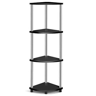 4-Tier Corner Shelf Light Duty Shelf Living Room Display Stand Storage RacKBlack 4 Shelf Bookcase Light