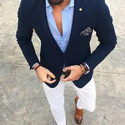 Dark Blue Slim Fit Men's Suit Groom Best Man Tuxedos Casual Business