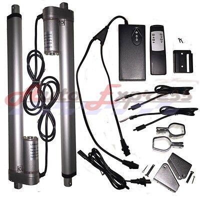 2 Linear Actuators 24 Inch Stroke 12v 110v Power Supply With Remote Bracket Set