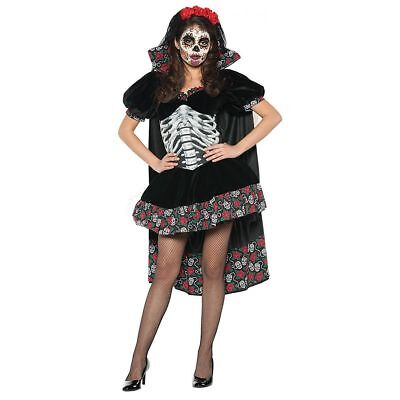 rita Adult Womens Halloween Costume Skull & Red Roses Dress (Red Skull Halloween-kostüme)