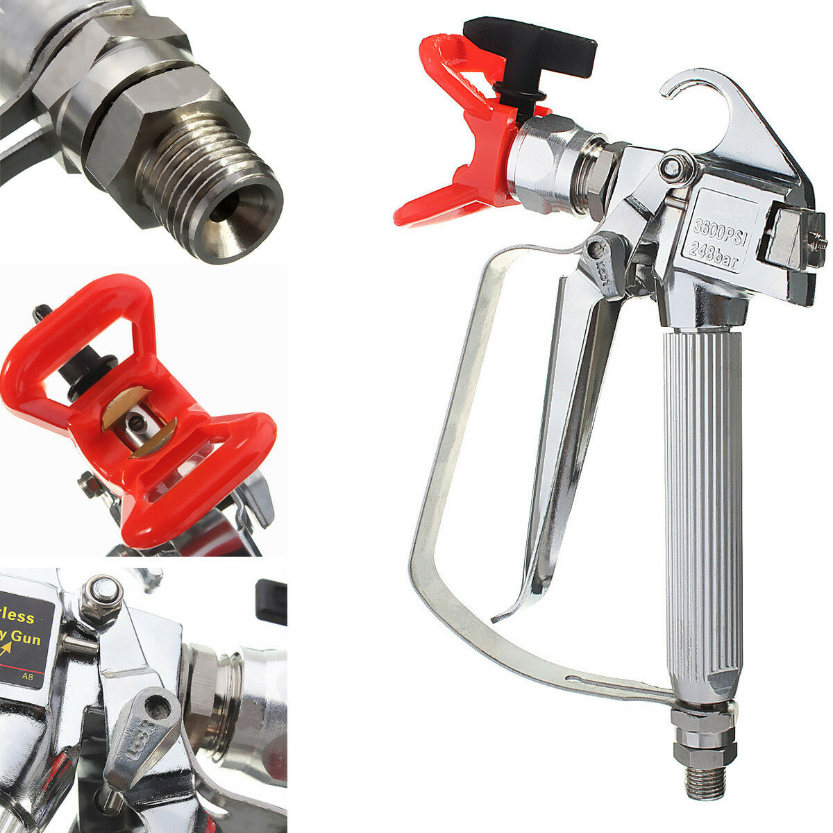 Airless paint spray gun 3600psi tip tip guard for graco for Spray gun for oil based paints