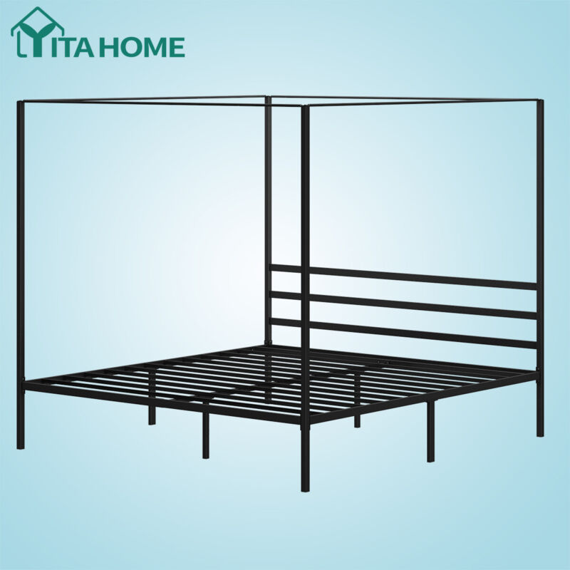YITAHOME King Metal Canopy Bed Frame with Headboard Platform