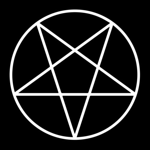 Pentacle Point Down Vinyl Decal - White 6 Inch