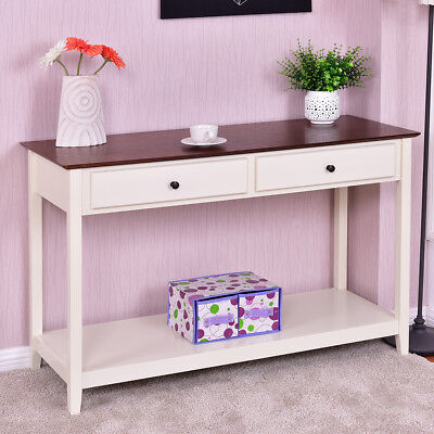 Wood Console Sofa Table Accent Stand with Drawer and Shelf Entryway Living Room