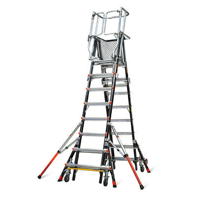 Little Giant 18515-240 Aerial Safety Cage Ext Ladder 8-14 Iaa W Wheel Lift
