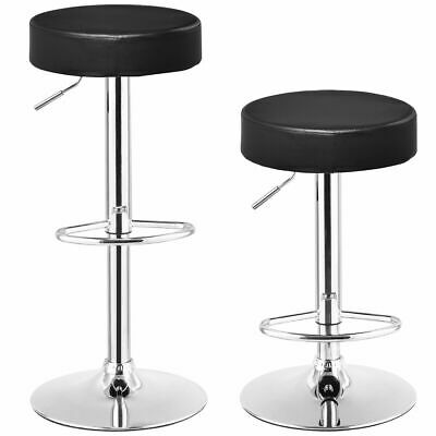 Set of 2 Round Leather Seat Chrome Leg Adjustable Hydraulic Swivel Bar Stool New ()