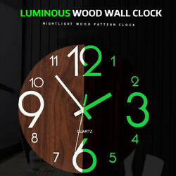 11.8'' Wooden Wall Clock Glow In The Dark Night Silent Quartz Indoor Bedroom US