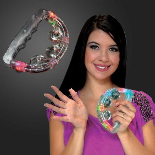12 Flashing Tambourines Light Up Round Jingles LED Church Autism Sensory Toy Lot