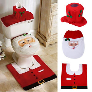 3pcs Toilet Seat Cover Rug Set Christmas Bathroom Home Decoration Xmas Santa