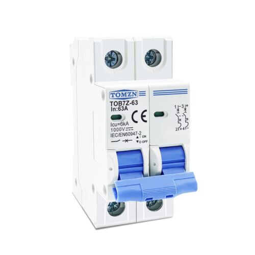 2P DC Circuit Breaker MCB for PV System 3/6/10/16/20/25/32/63A Solar Protection