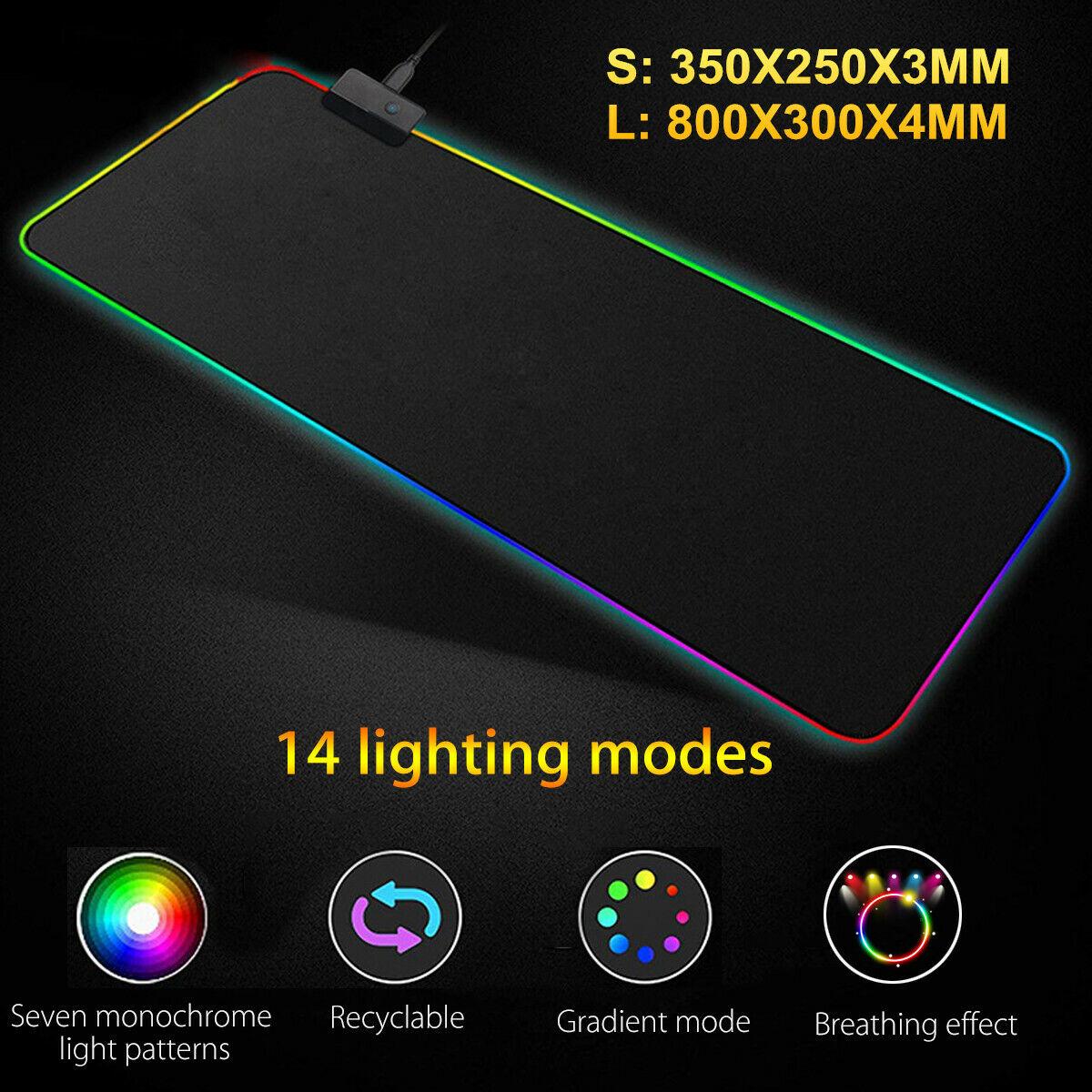 Large RGB LED Lighting Gaming Keyboard Mouse Pad Mat For PC