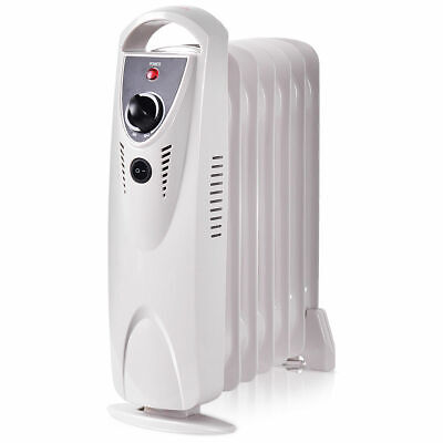 Portable 700W Electric Oil Filled Radiator Heater Thermostat