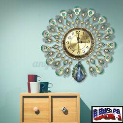 US Large 60x60cm Wall Clocks Luxury European Peacock Living Room Wall Home Decor