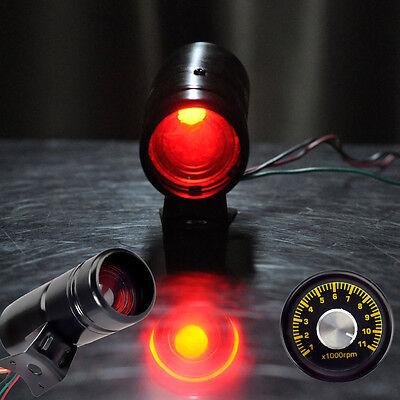 HS 1000 11000RPM Adjustable Red LED Tacho Gauge Tachometer Shift Light Black New