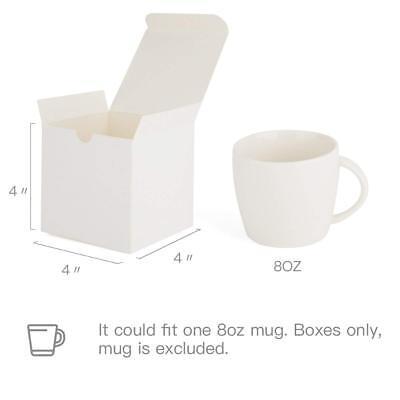 Cupcake Gift - 50pk White Paper Kraft Gift Boxes with Lids 4x4x4 Crafting Cupcake Boxes
