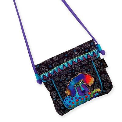 Flap Tote Handbag - Laurel Burch Poodle Pup Flap Over Crossbody Tote Handbag Purse