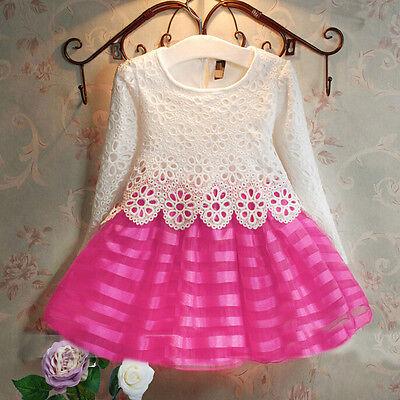 Kids Baby Girls Dress Long Sleeve Lace Crochet Princess Party Tulle Tutu Dresses