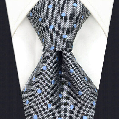 SHLAX&WING Mens Tie Grey Blue Dots Neckties for Men Silk Business New Design Dots Grey Design